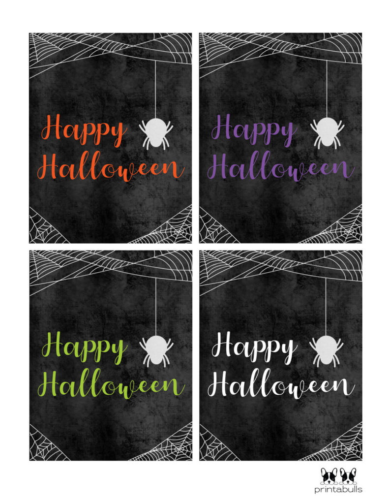 happy halloween printable cards with spiders