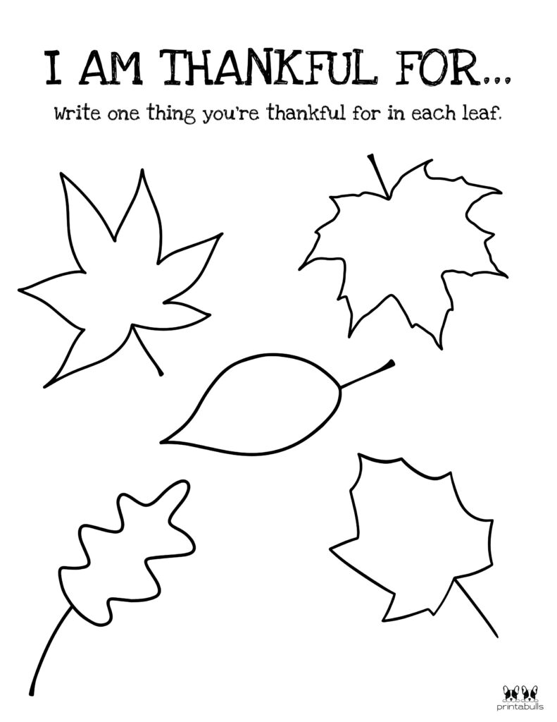 Printable I Am Thankful Worksheet_Page 1