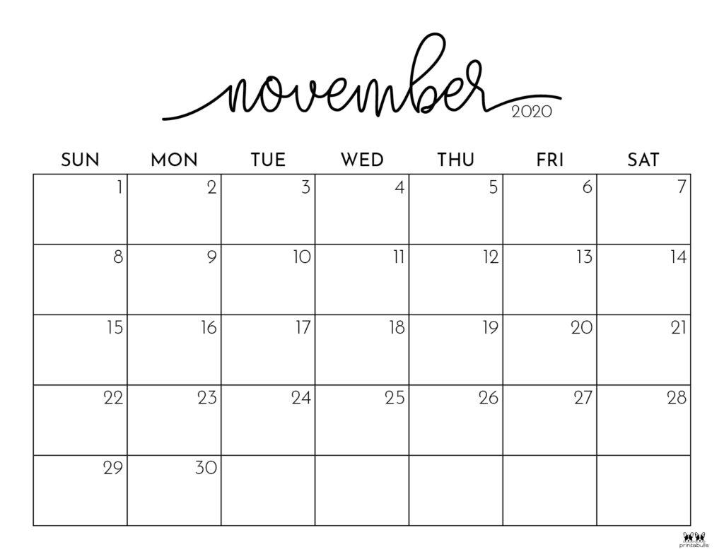 Printable November 2020 Calendar-Style 1