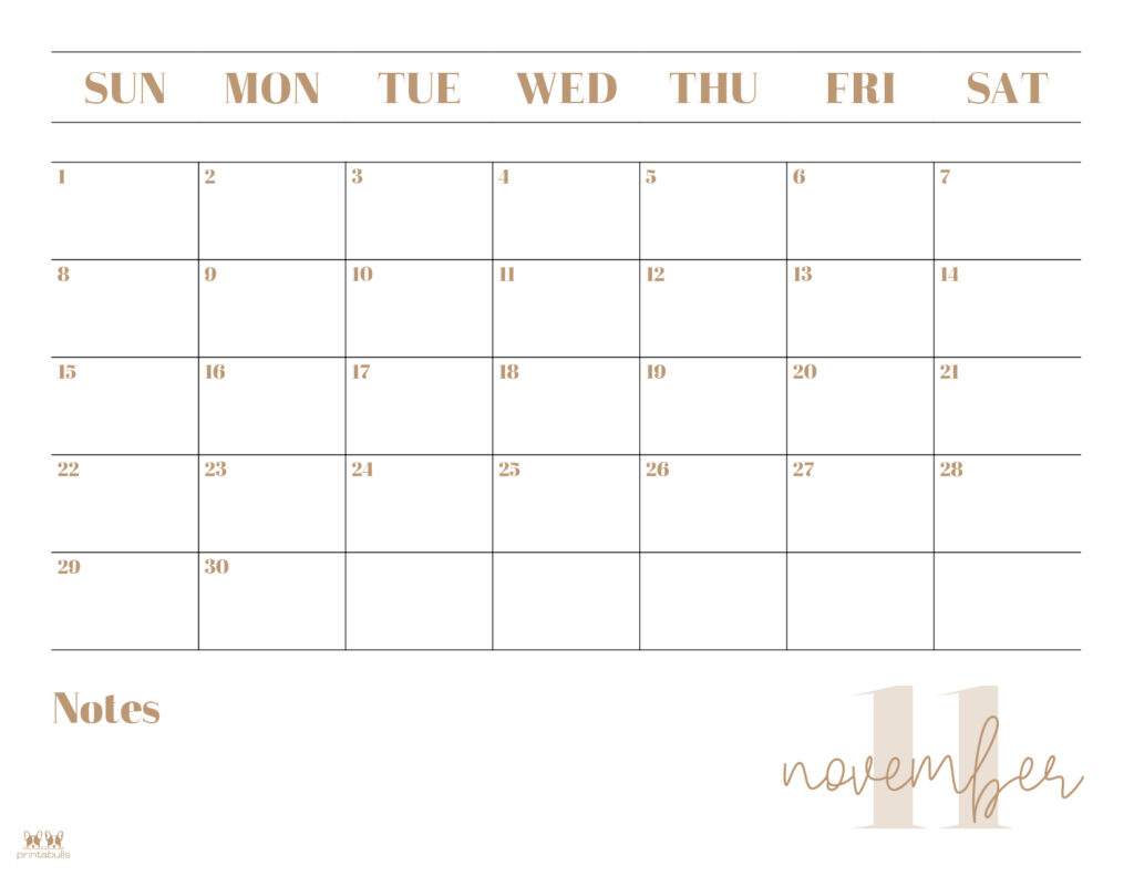 Printable November 2020 Calendar-Style 2