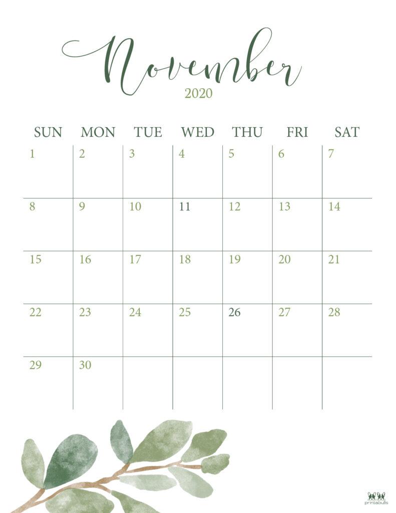 Printable November 2020 Calendar-Style 3