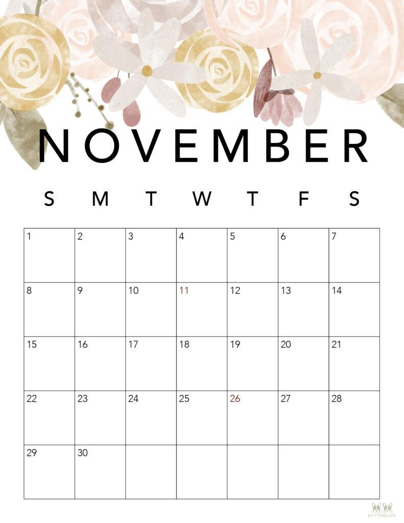 Printable November 2020 Calendar-Style 4