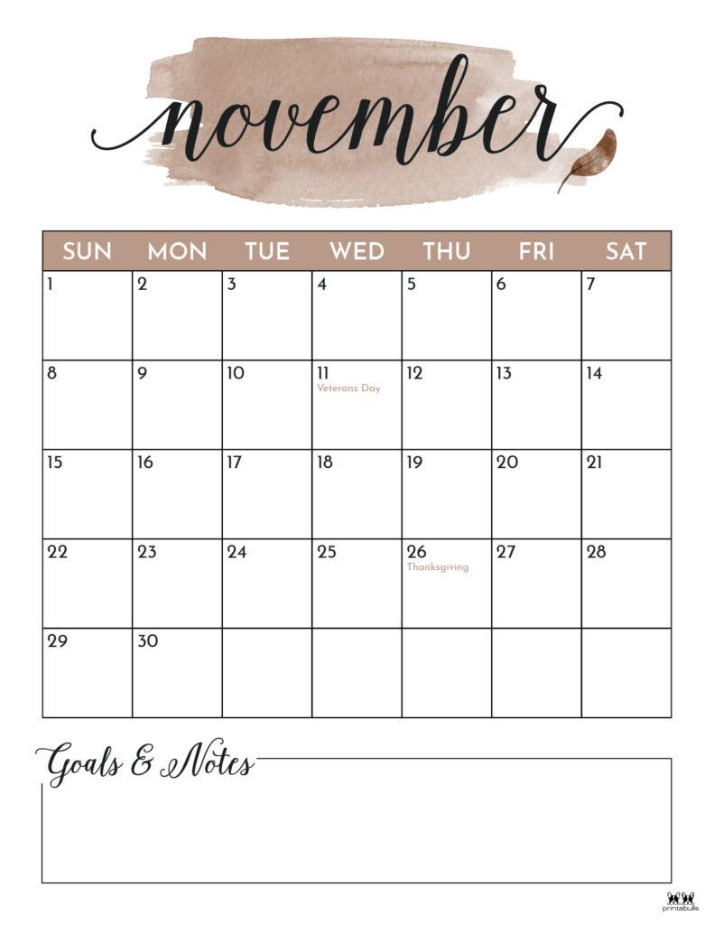 Printable November 2020 Calendar-Style 5