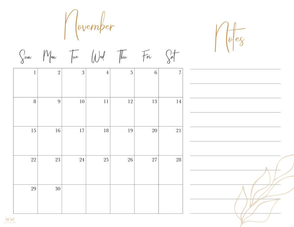 Printable November 2020 Calendar-Style 7