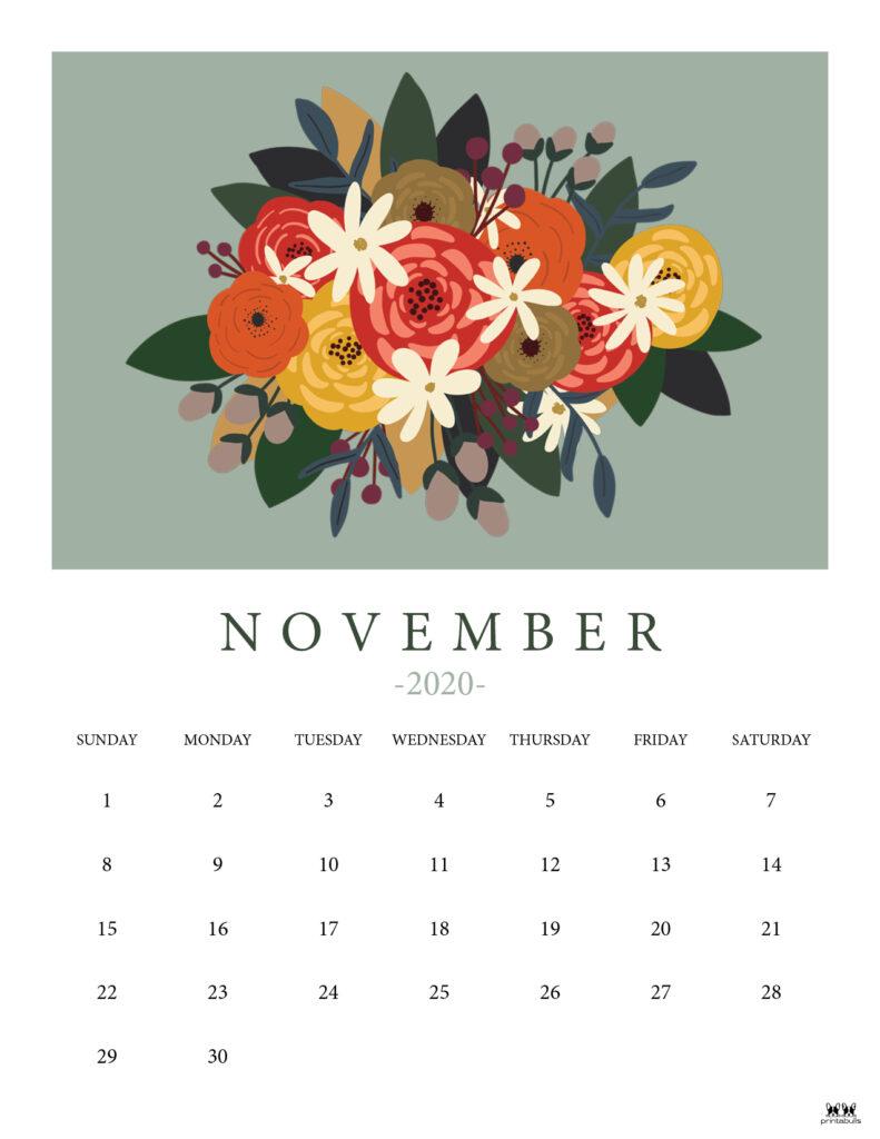 Printable November 2020 Calendar-Style 8