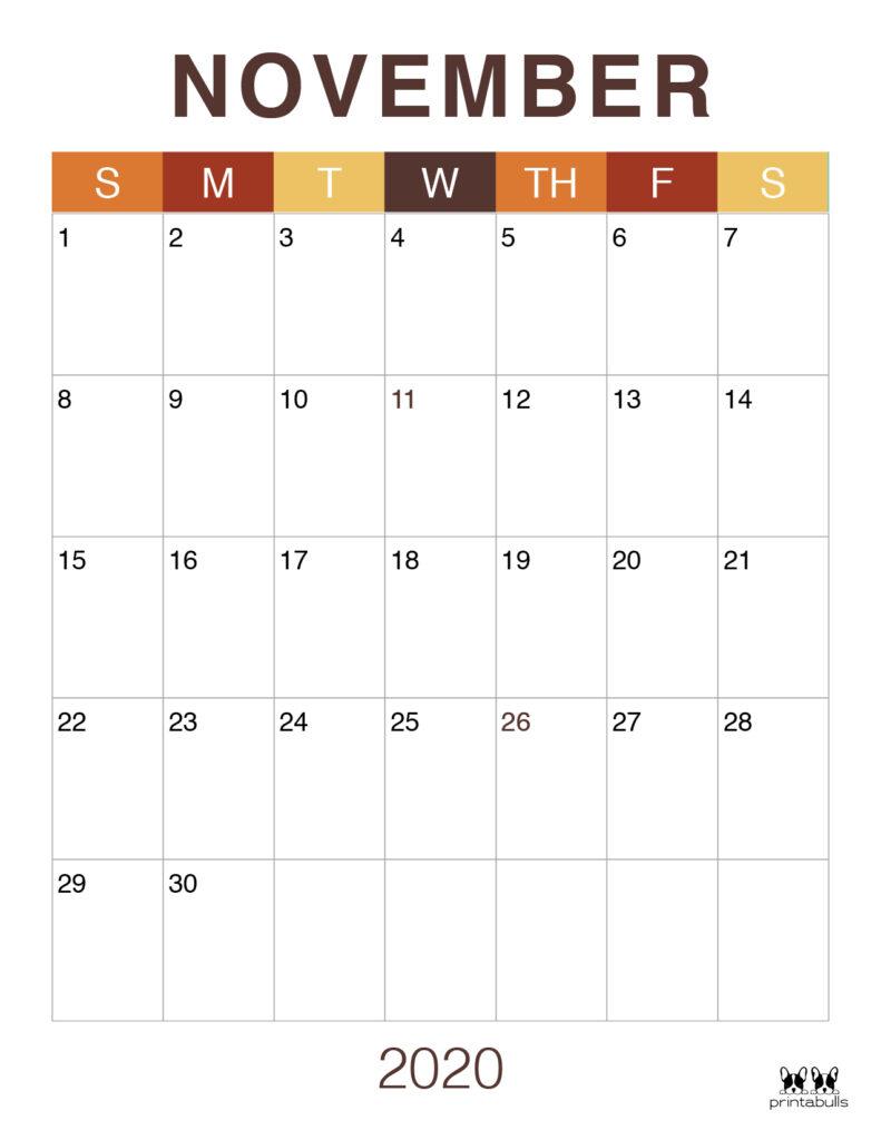 Printable November 2020 Calendar-Style 9