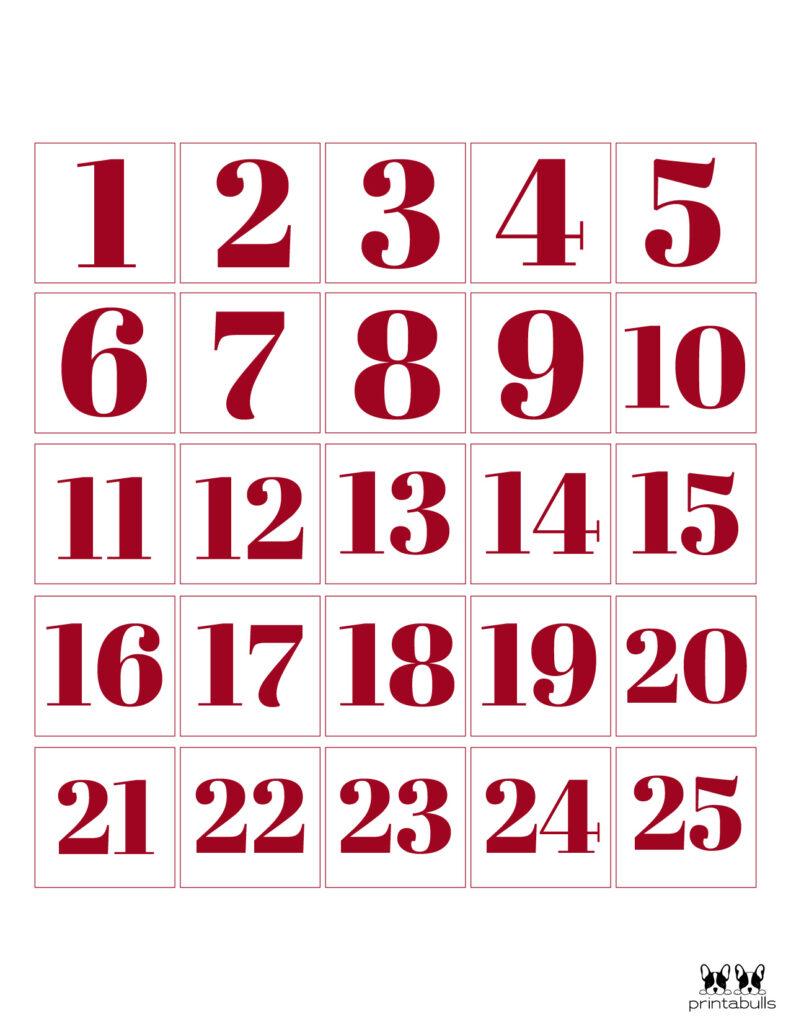 Printable Christmas Number Set-Set 9