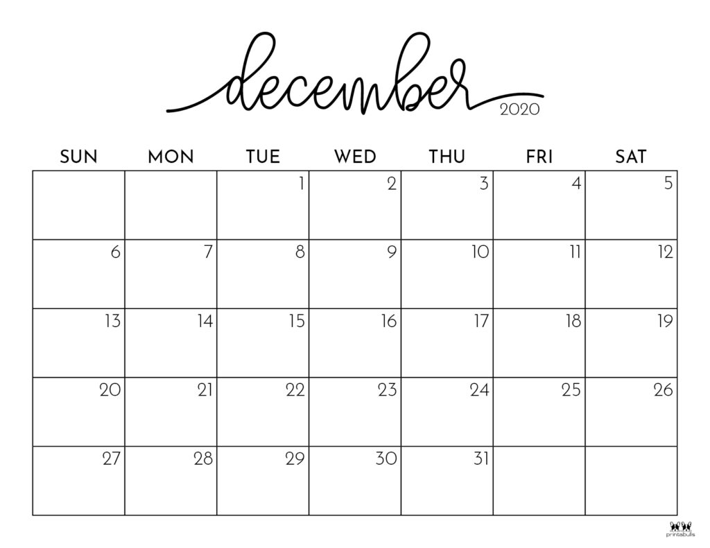 Printable December Calendar-Style 1