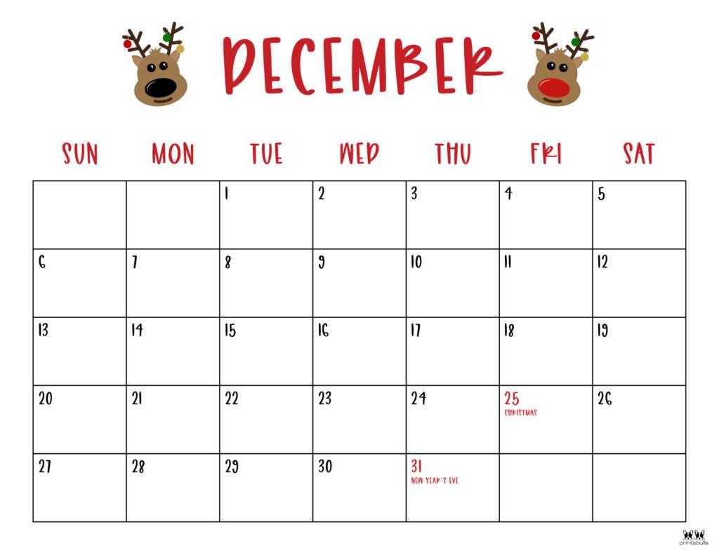 Printable December Calendar-Style 10