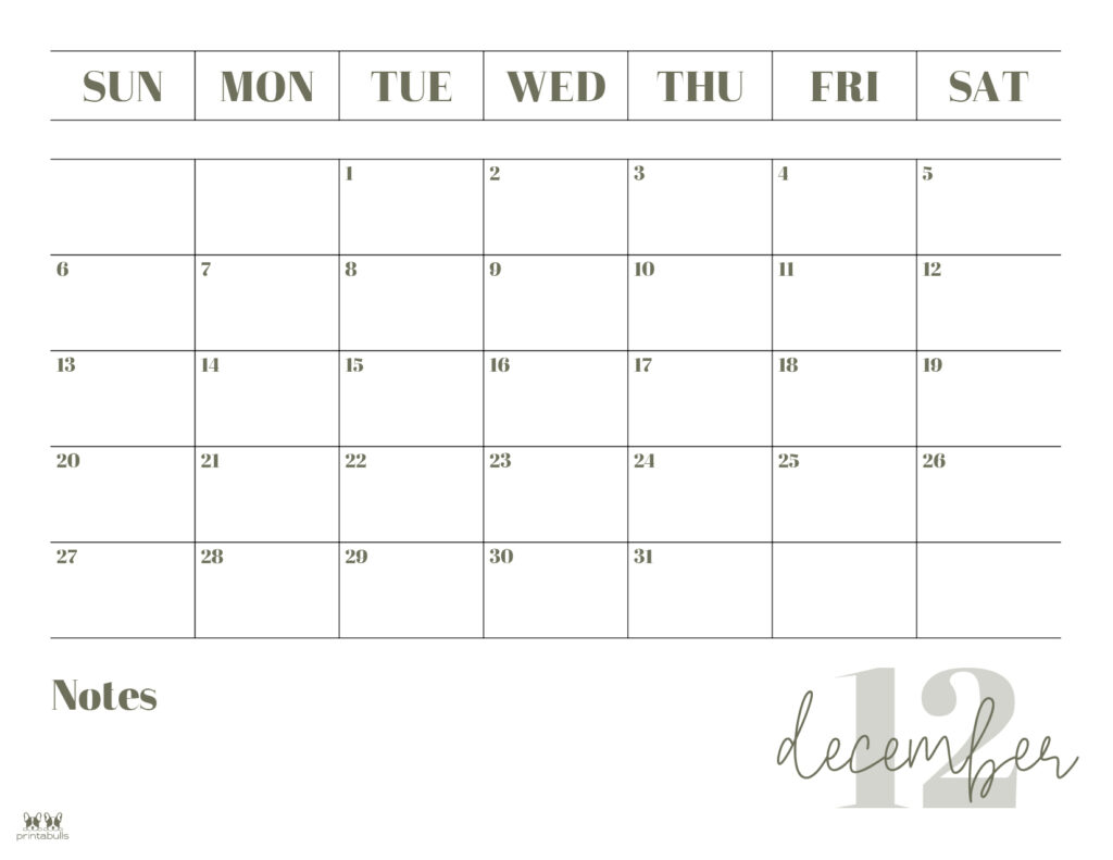 Printable December Calendar-Style 2