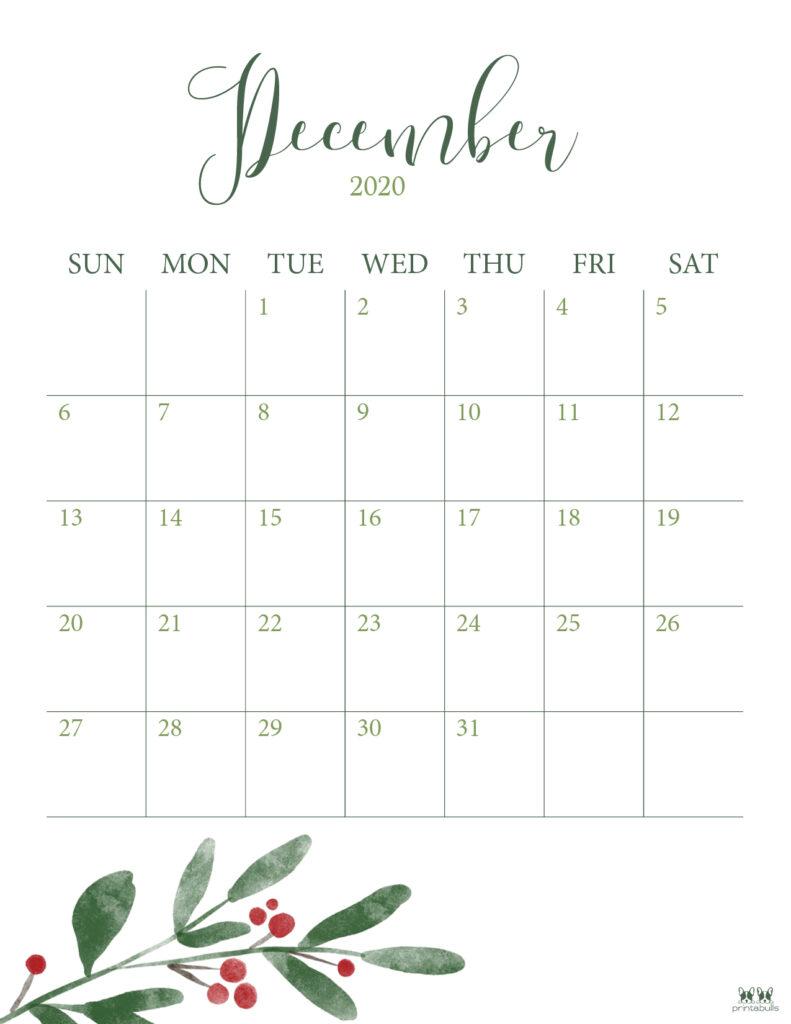 Printable December Calendar-Style 3