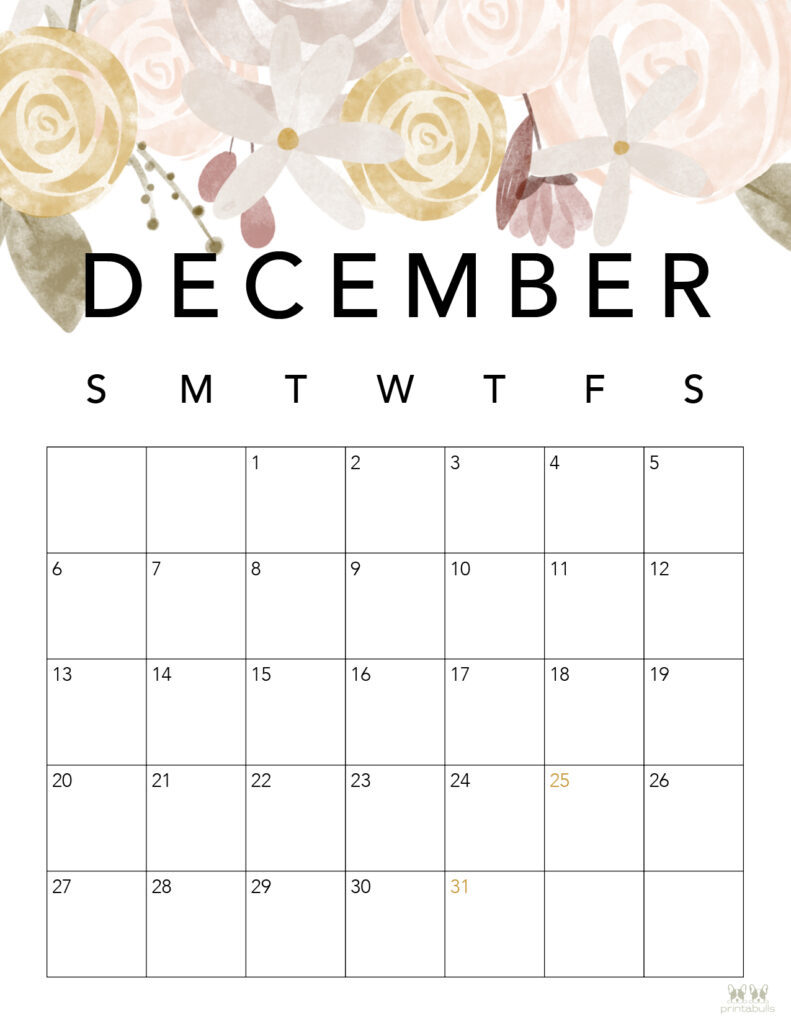 Printable December Calendar-Style 4