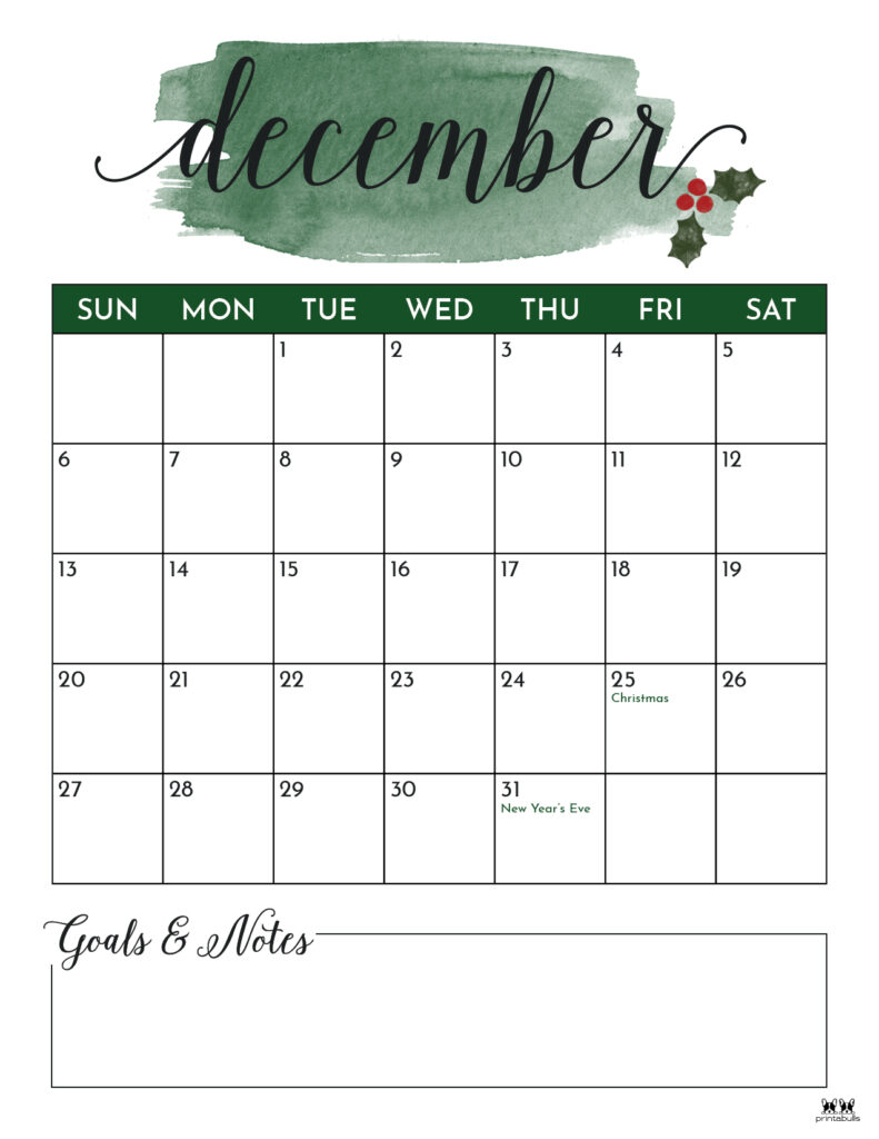 Printable December Calendar-Style 5
