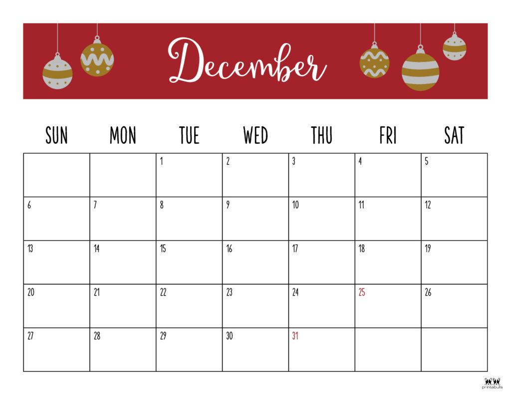 Printable December Calendar-Style 6