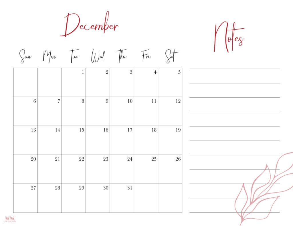 Printable December Calendar-Style 7