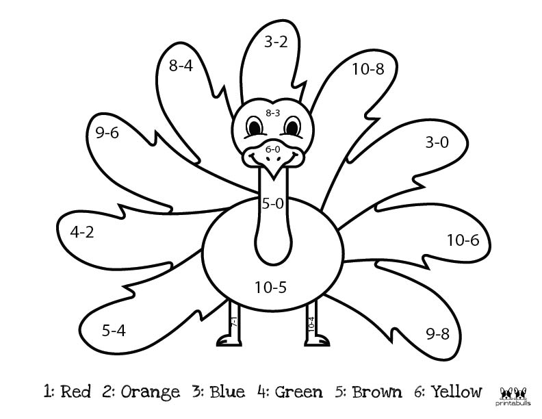 Printable Thanksgiving Color By Number-Page 1