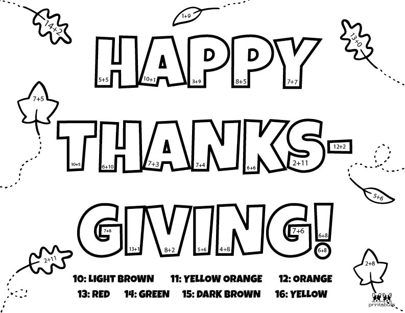 Printable Thanksgiving Color By Number-Page 14