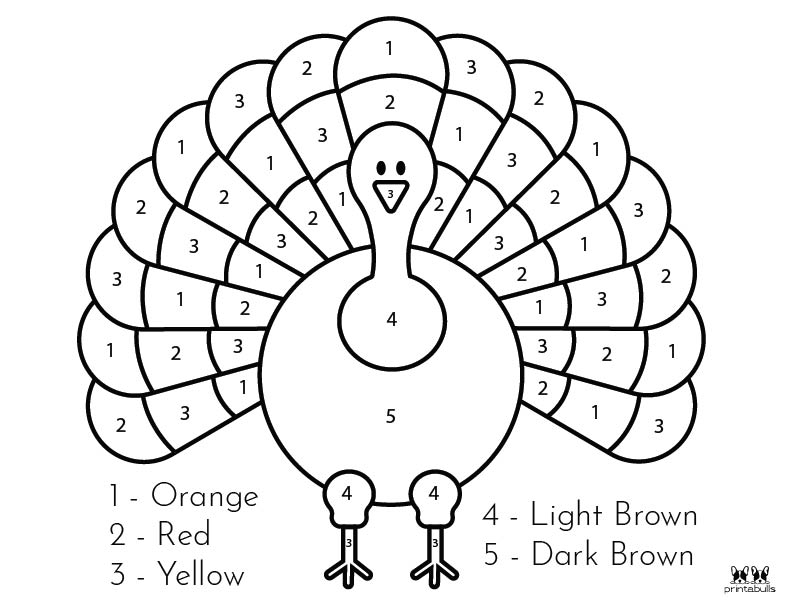 Printable Thanksgiving Color By Number-Page 2