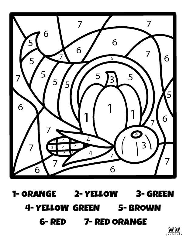 Printable Thanksgiving Color By Number-Page 6