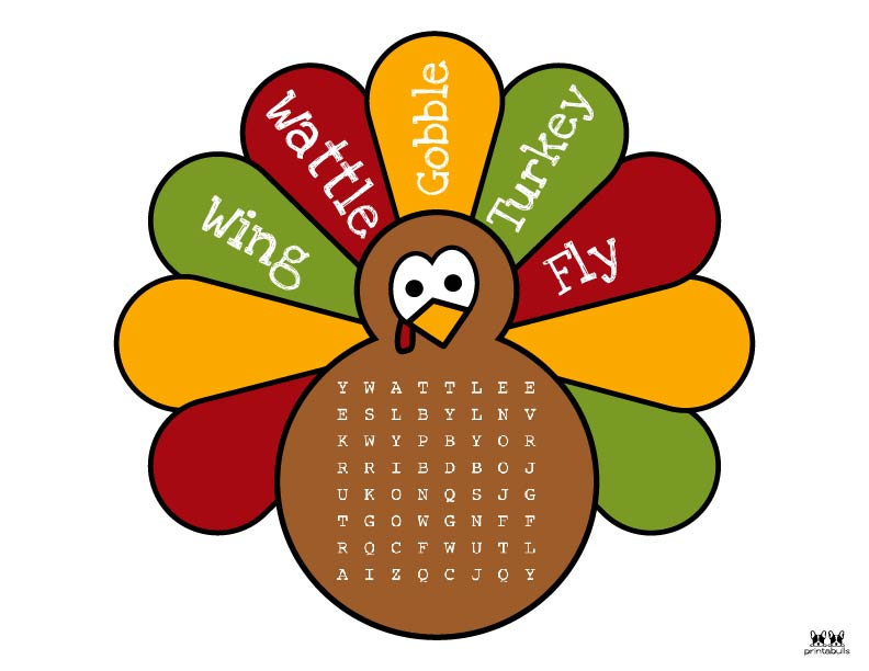 Printable Thanksgiving Word Search-Easy 1