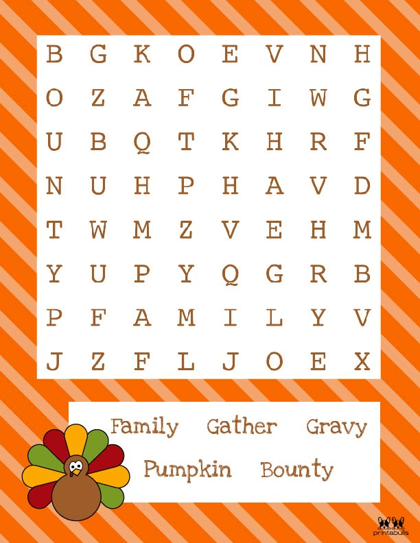Printable Thanksgiving Word Search-Easy 4