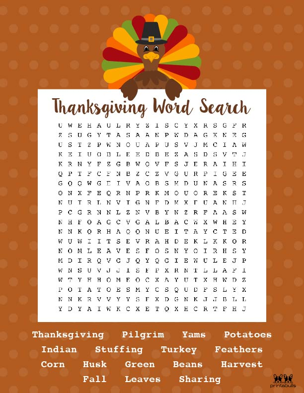 Printable Thanksgiving Word Search-Hard 2