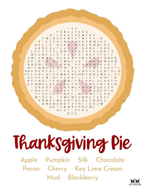 Printable Thanksgiving Word Search-Medium 1