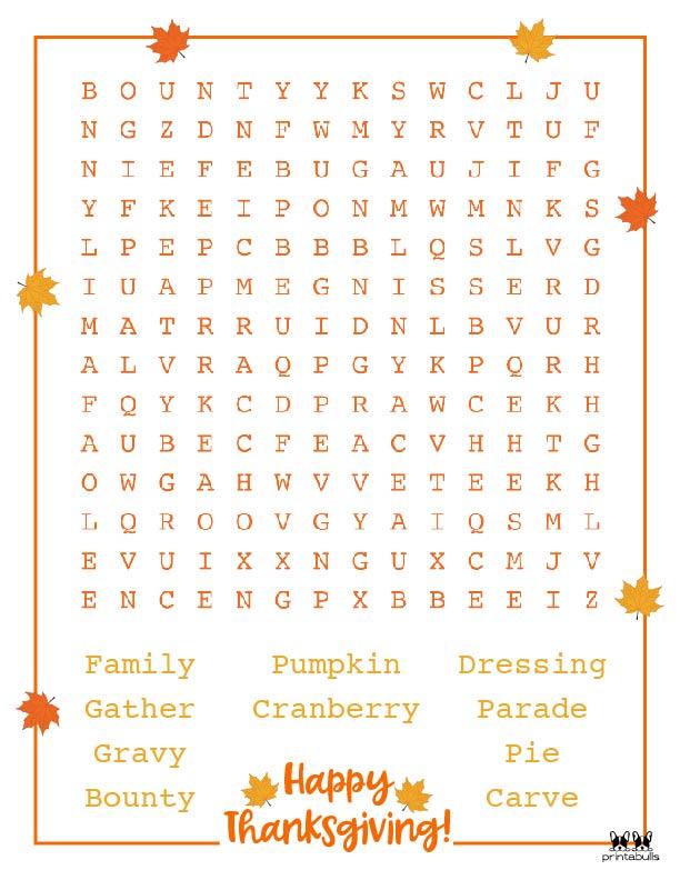 Printable Thanksgiving Word Search-Medium 4