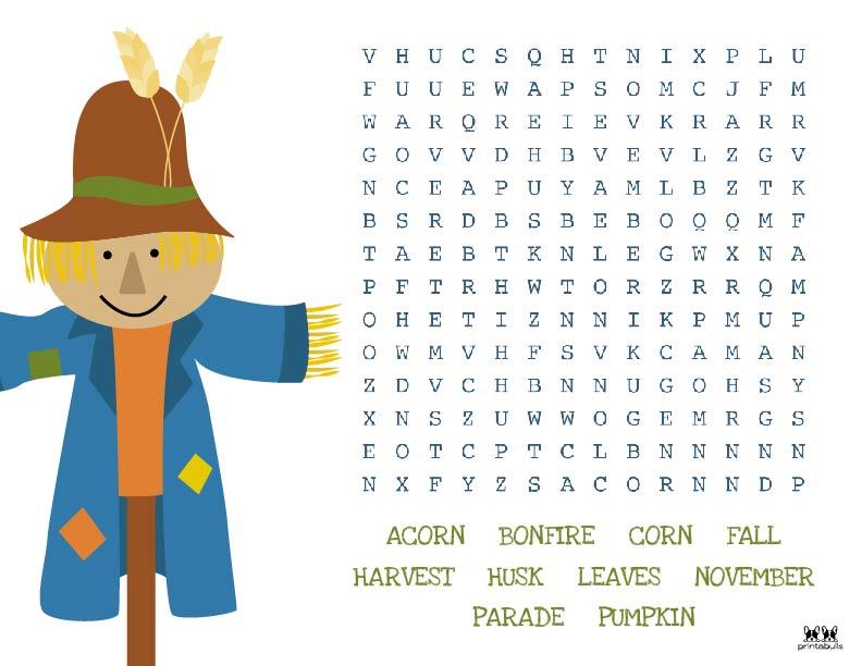 Printable Thanksgiving Word Search-Medium 5