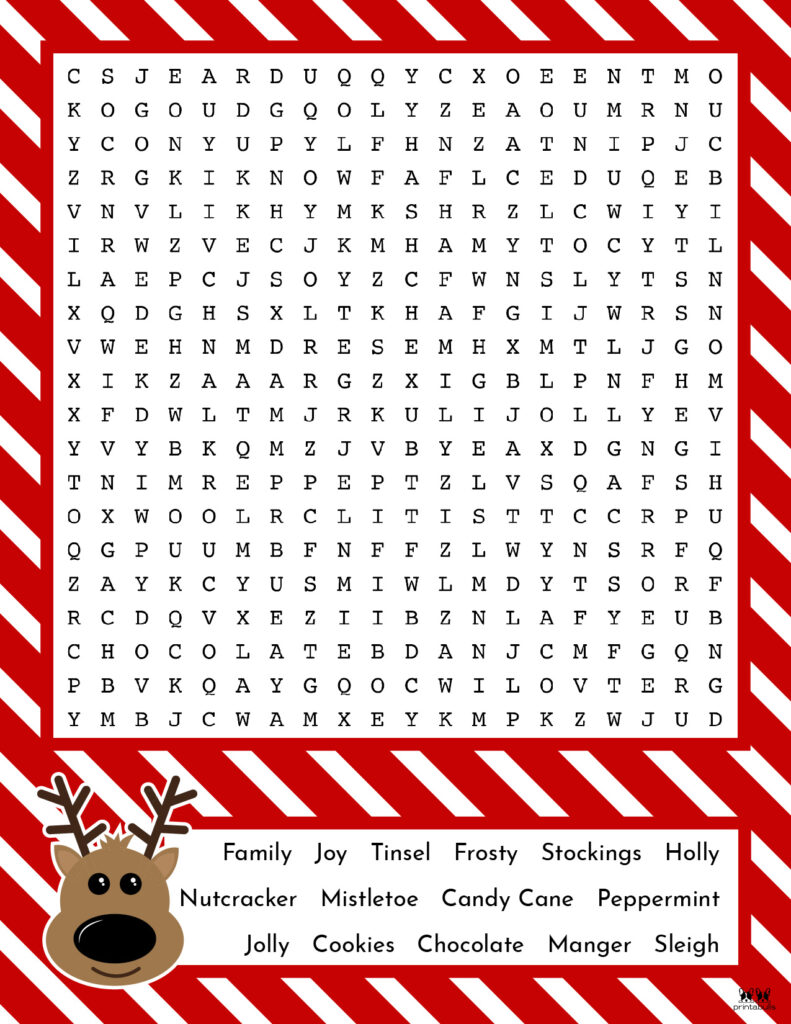 Printable Christmas Word Search-Hard 5