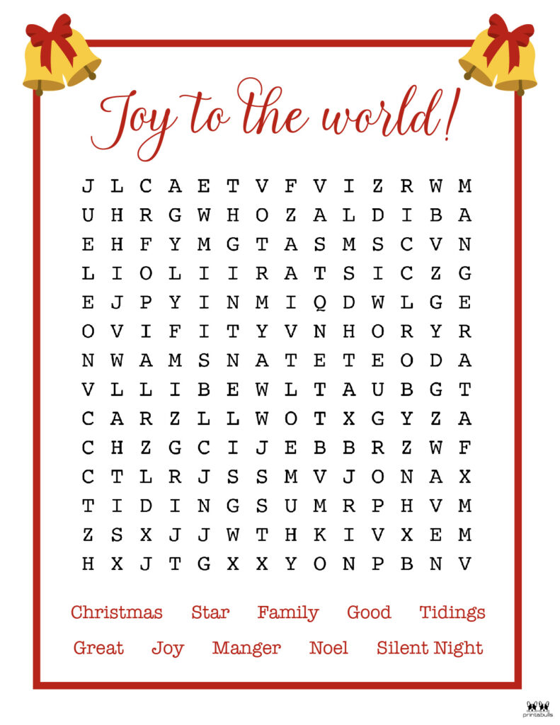 Printable Christmas Word Search-Medium 2
