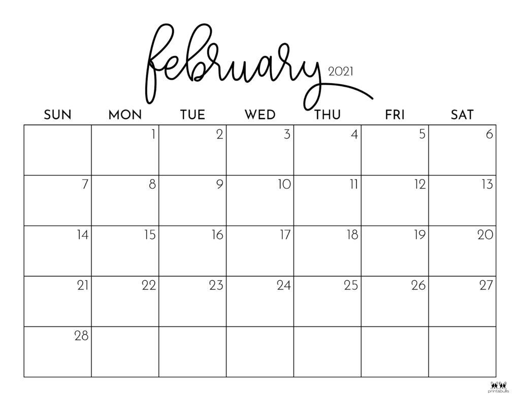 Printable February 2021 Calendar-Style 1