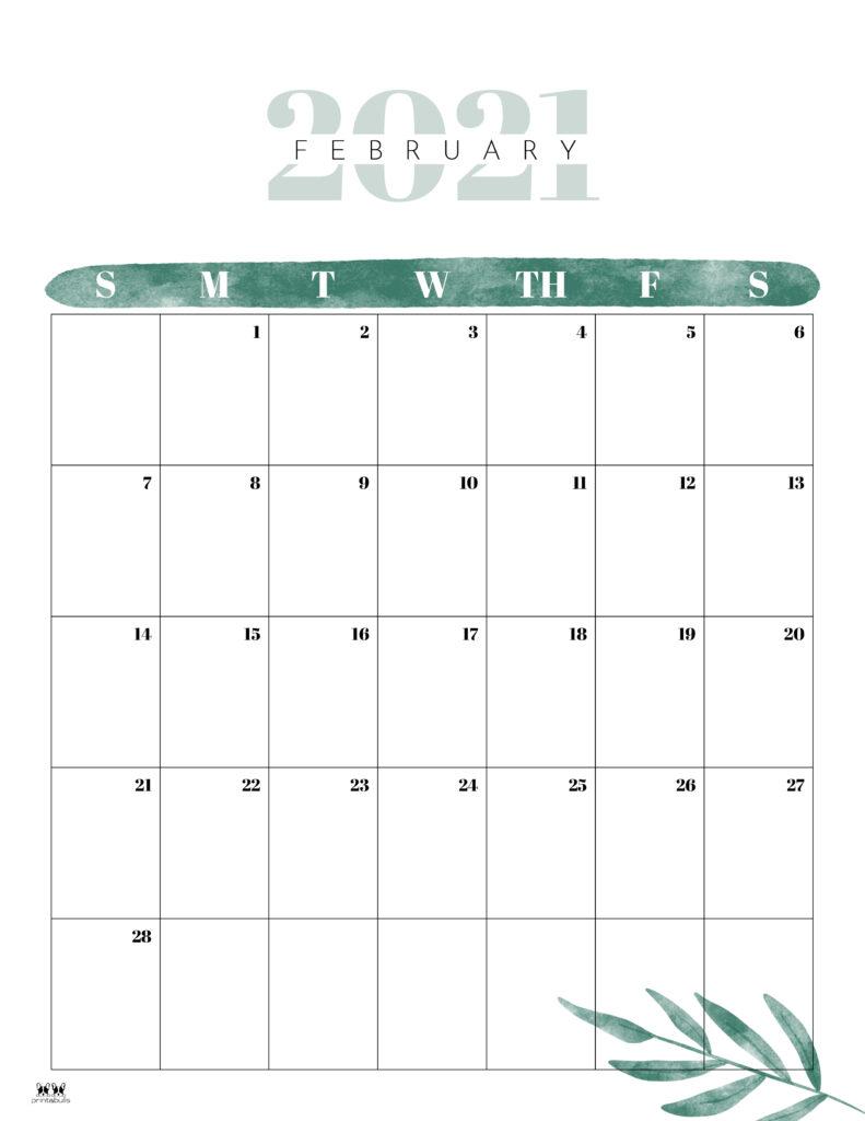 Printable February 2021 Calendar-Style 12