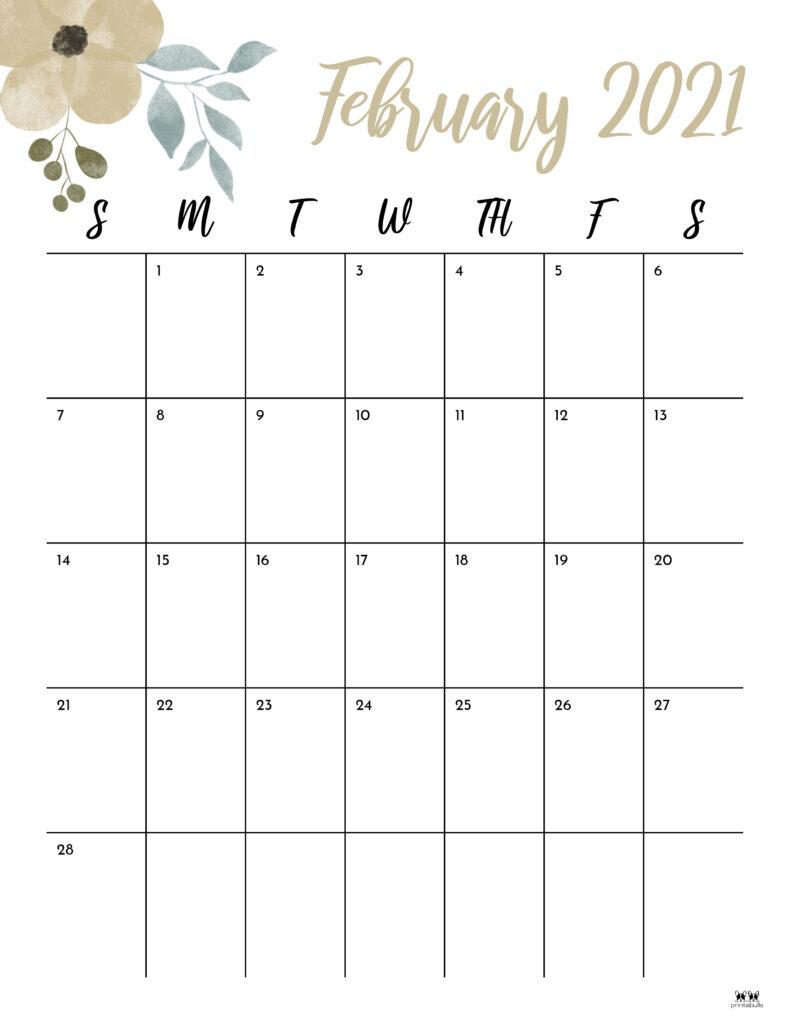 Printable February 2021 Calendar-Style 15