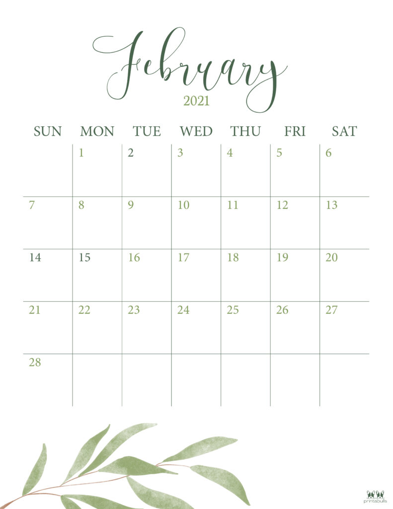 Printable February 2021 Calendar-Style 3