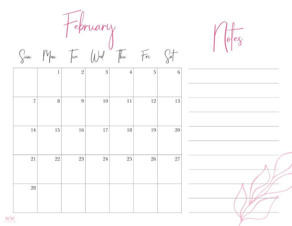 Printable February 2021 Calendar-Style 7