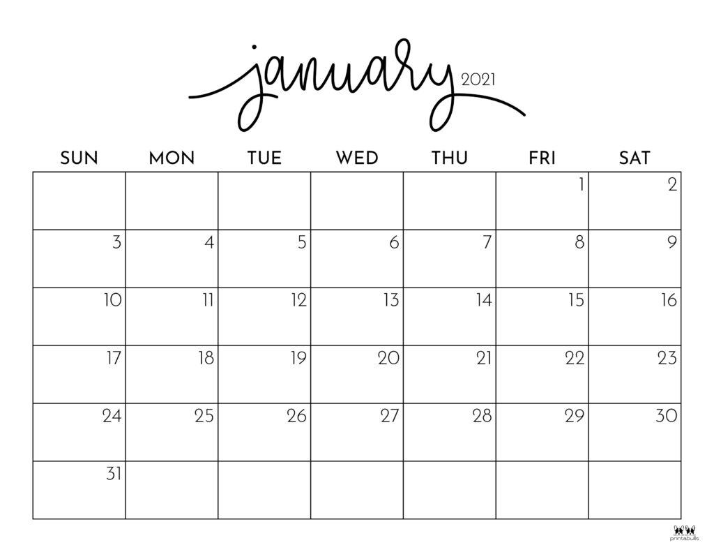 Printable January 2021 Calendar-Style 1