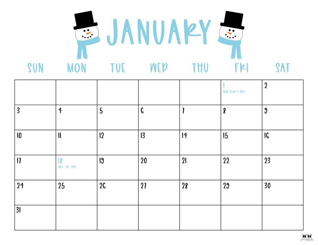 Printable January 2021 Calendar-Style 10