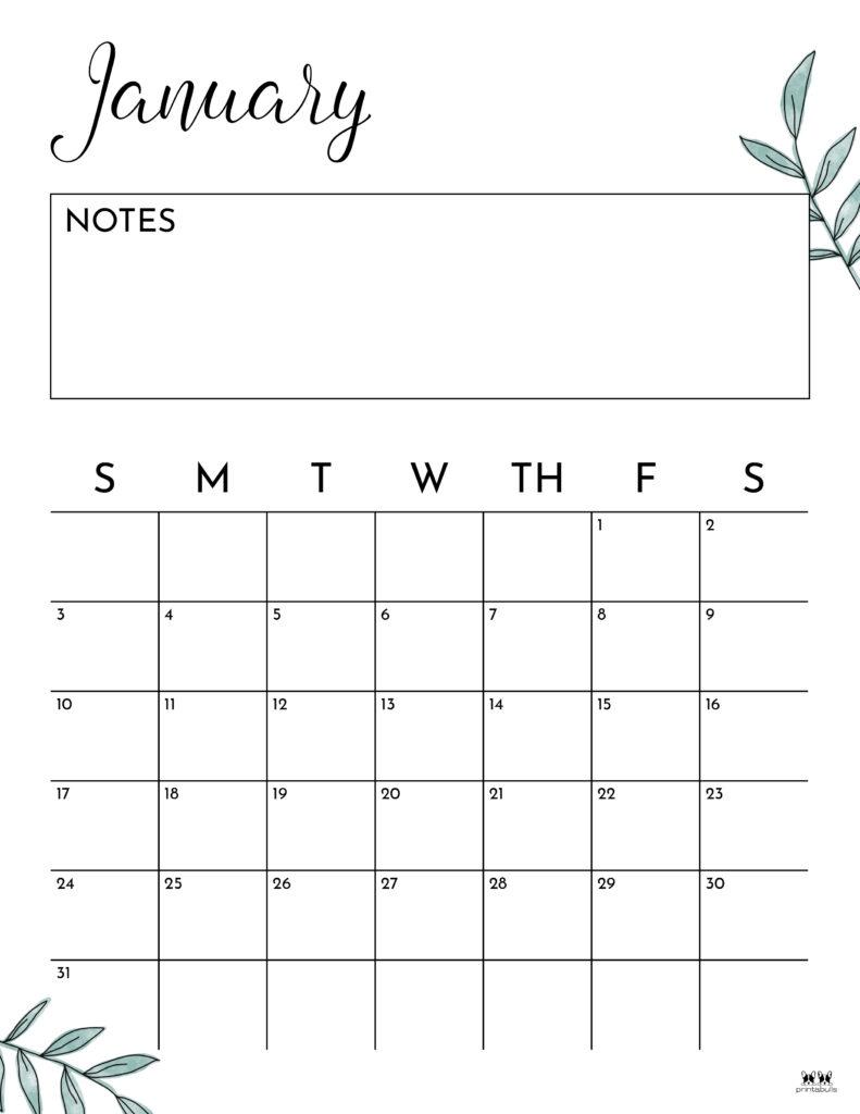 Printable January 2021 Calendar-Style 11