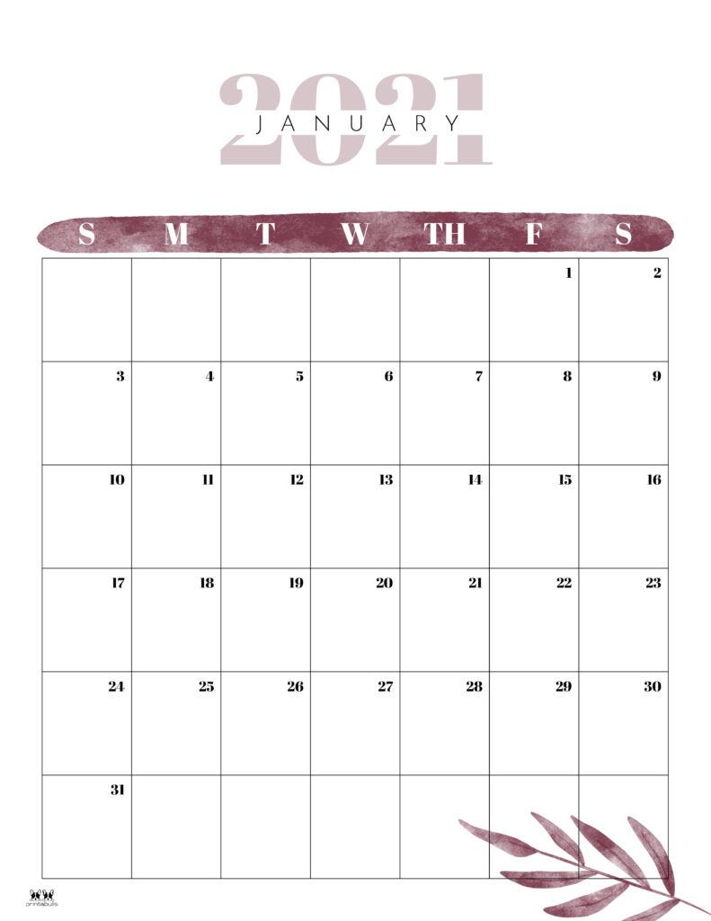 Printable January 2021 Calendar-Style 12