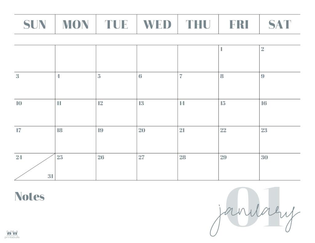Printable January 2021 Calendar-Style 2