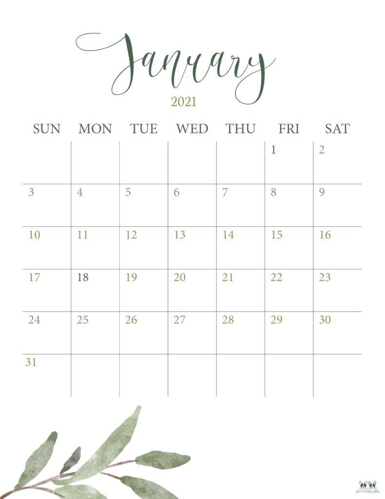 Printable January 2021 Calendar-Style 3