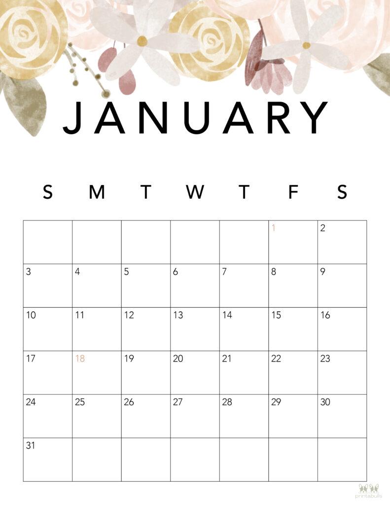 Printable January 2021 Calendar-Style 4