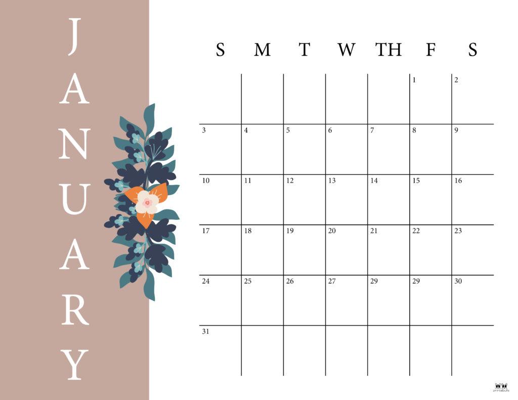 Printable January 2021 Calendar-Style 6