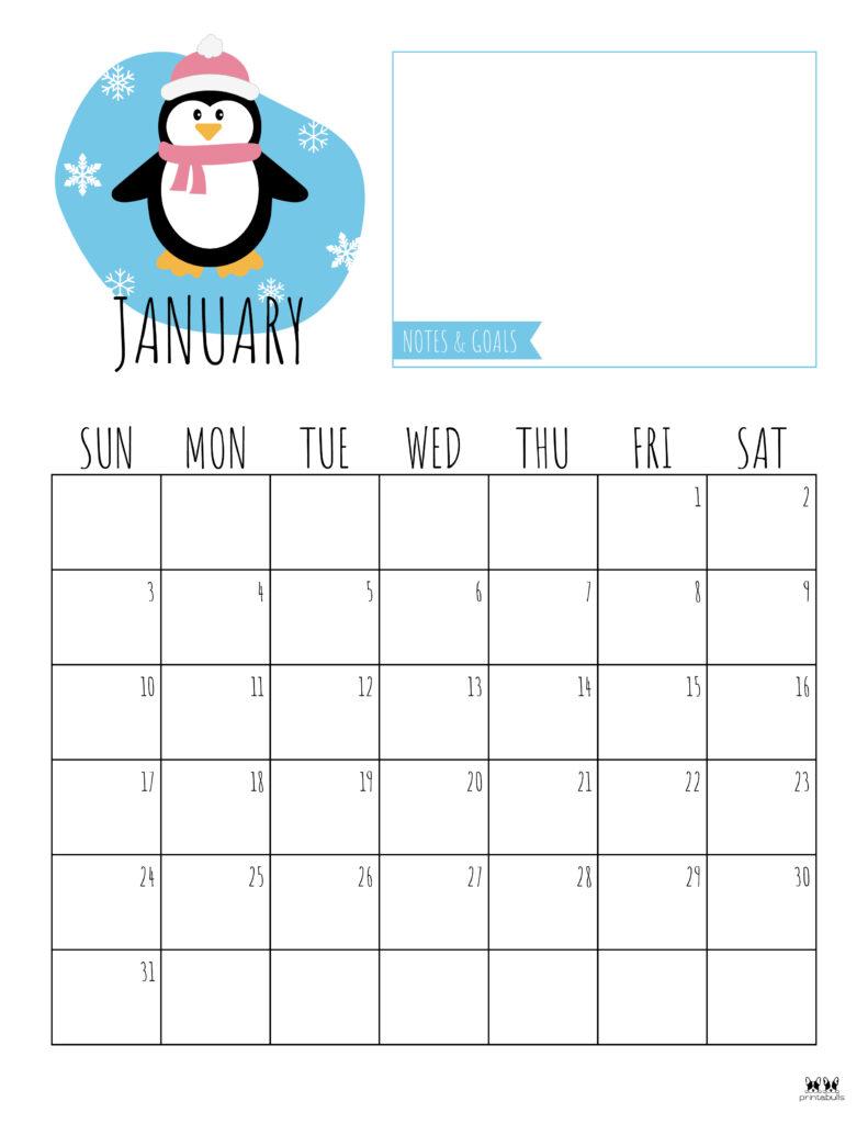 Printable January 2021 Calendar-Style 8