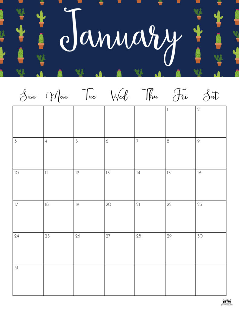 Printable January 2021 Calendar-Style 9
