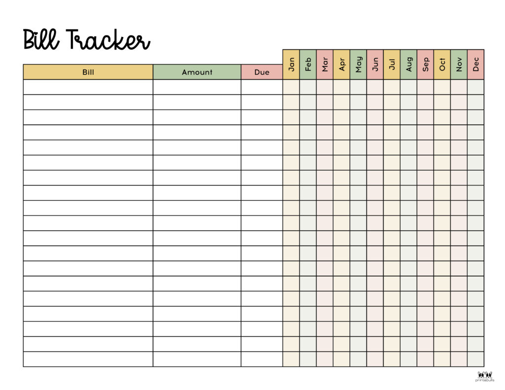 Printable Monthly Bill Organizer-Page 12