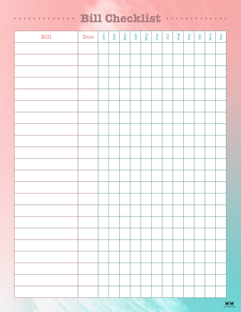 Printable Monthly Bill Organizer-Page 14
