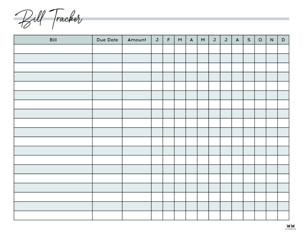 Printable Monthly Bill Organizer-Page 2