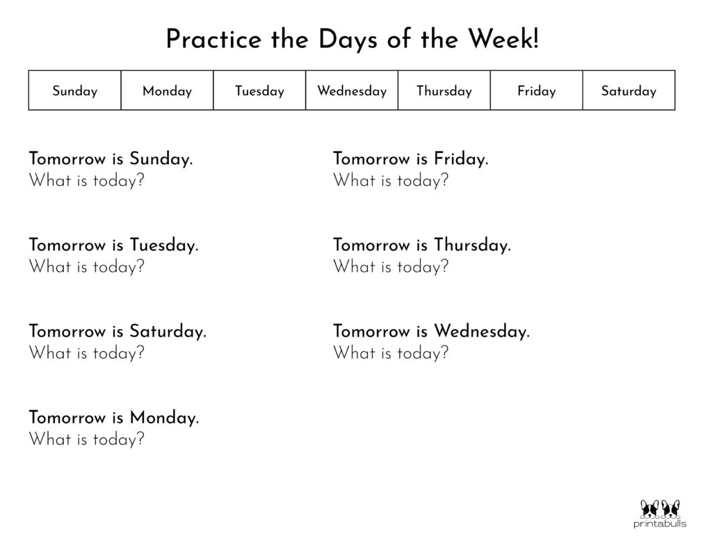 Days of the Week Worksheet-Page 10